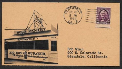 1st Bob's Big Boy 1936 Adveritising Envelope Reprint Genuine 1936 Stamp *OP1280
