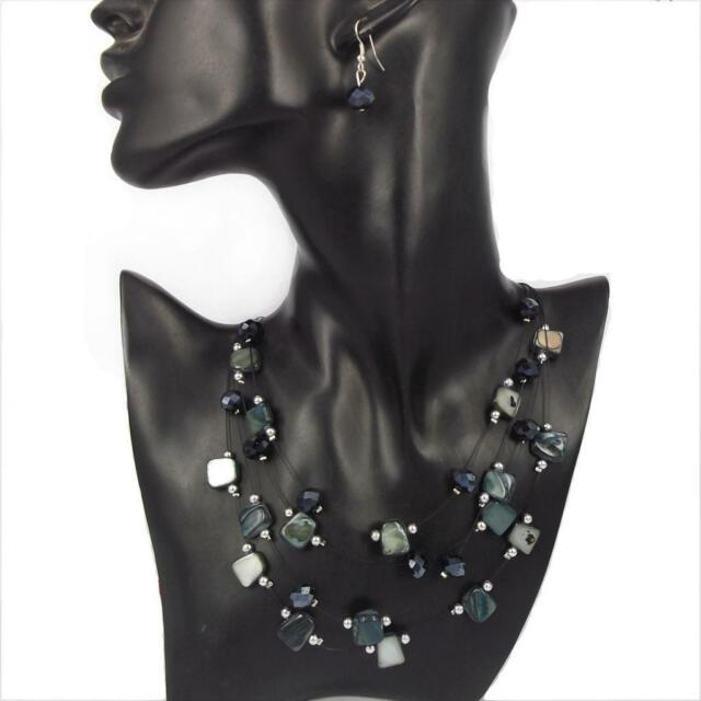 Jade Tone Stones Drak Blue Silver Beads Wire tiering Statement Necklace EARRING