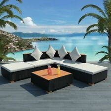 vidaXL Garden Sofa Set 15 Piece Wicker Poly Rattan WPC Outdoor Lounge Seat