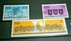 FRANCOBOLLI-POLONIA-POLAND-034-SPORT-CICLISMO-CYCLING-034-TIMBRATI-USED-SET-CAT-X