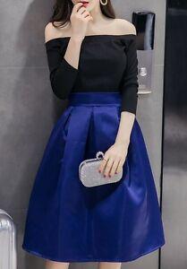 Elegante-raffinato-completo-inverno-gonna-lunga-blu-nero-manica-maglia-3791