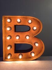 """New Rustic Metal Letter B Light Marquee: Sign Wall Decoration 12"""" Vintage"""