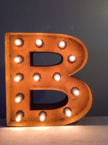 """New Rustic Metal Letter B Light Marquee Sign Wall Decoration 12/"""" Vintage"""