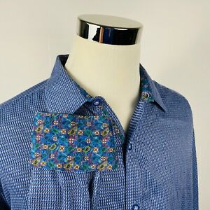 Robert-Graham-Mens-2XL-Classic-Fit-Paisley-Flip-Cuff-Shirt-Blue-Knit-Cotton