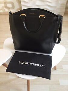 bandouliᄄᄄre en noir cuir Armani et poignᄄᆭes Emporio main Sac ᄄᄂ avec PkXiZu