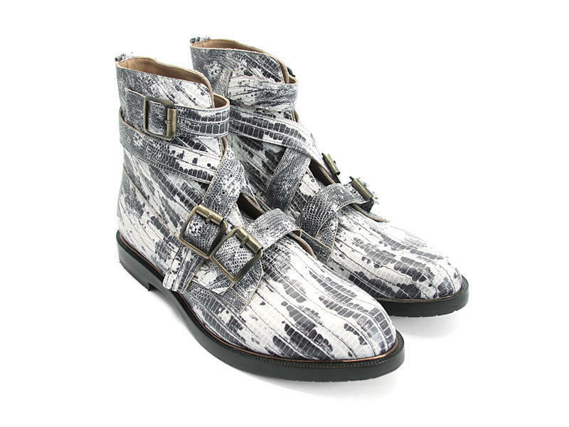 JOHN FLUEVOG SHOES MODVOGS DARIN BOOT SNAKE PRINT LEATHER 9 BUCKLE BOOTIES