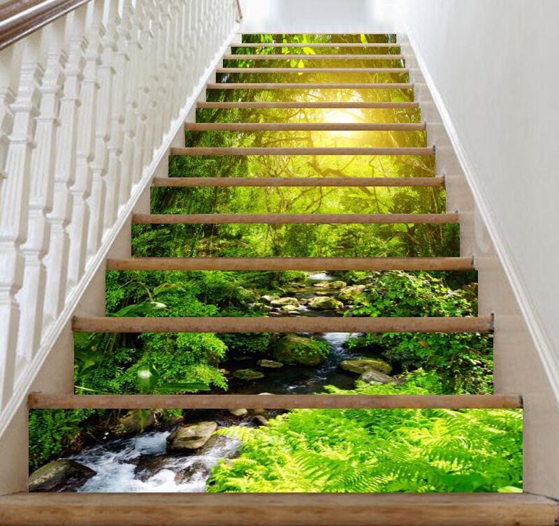 3D Jungle sun 2 Stair Risers Decoration Photo Mural Vinyl Decal Wallpaper AU