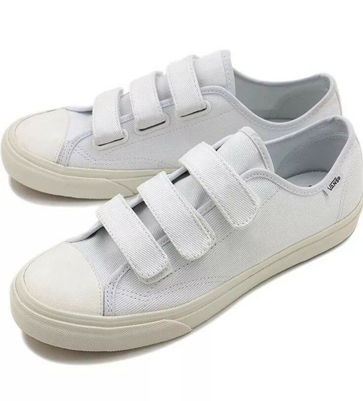 New Vans Mens 13 Womens 14.5 Prison Issue Twill True White white Canvas Sneakers