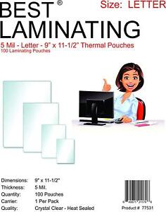 Best-Laminating-5-mil-Letter-Laminating-Pouches-Clear-9-034-x-11-5-034-100-Pouches