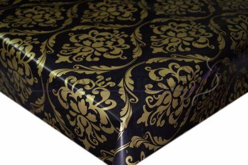 Moderne Damassé Noir//Or PVC Nappe Vinyle Toile Cirée Cuisine Table de salle à manger