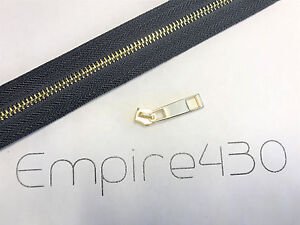 Continuous Zipper Chain by Feet, Unfinished Zipper - Metal #5 Gold, Blue Tape