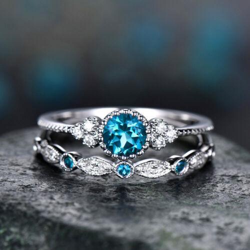 New Crystal Designer 925 Sterling Silvery Ring 2 Pc//set 2 In 1 Birthday Wedding
