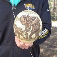 "Real Scrimshawed South African Ostrich Egg ""Elephants"" Taxidermy #25124"