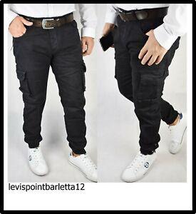 speciale per scarpa vendita economica meglio pantaloni jeans cargo da uomo con tasche laterali tasconi elastico ...