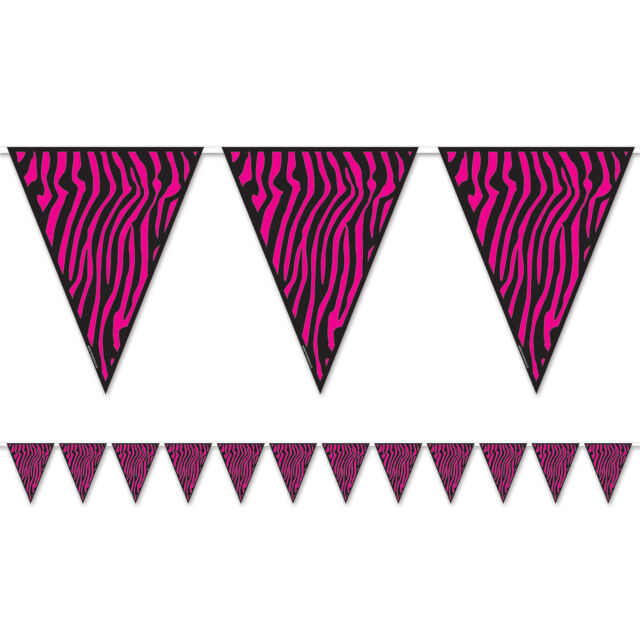 SWEET 16 Party Hanging Decoration Hot Pink Black ZEBRA PRINT PENNANT Flag Banner