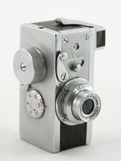 Steky model III, vintage spy camera, lens Stekinar Anastigmat 1:3.5 / 25mm