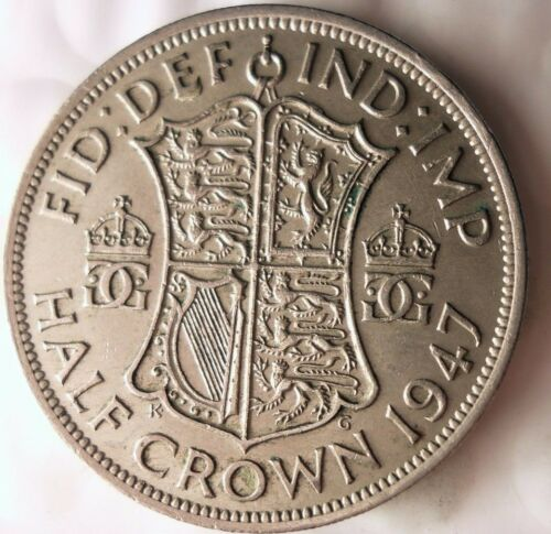Britain Half Crown Bin Less Common Date 1947 GREAT BRITAIN 1//2 CROWN