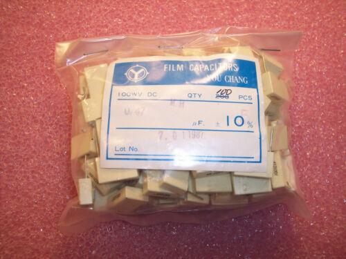 QTY 100 .47uf 100V 5/% METALLIZED POLYESTER BOX FILM CAPACITORS MM474J100