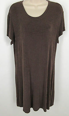 Citiknits 14 Dress Brown Slinky Stretch Knee Length Womens Travel Winkle Free