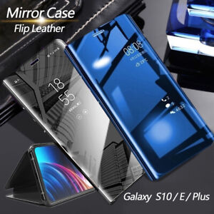 Luxury Mirror Flip Phone Case Stand Cover For Samsung Galaxy S10