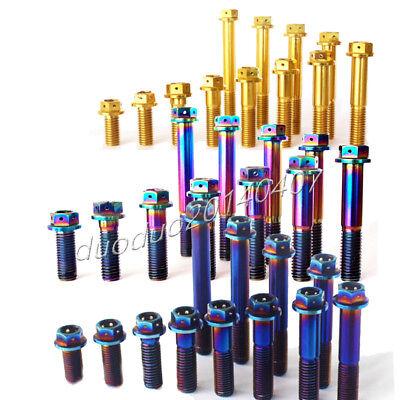 Motorcycle M10 x 20//25//30//35//40//45//50//55//60//65//70//75 Titanium Flange Bolt Golden