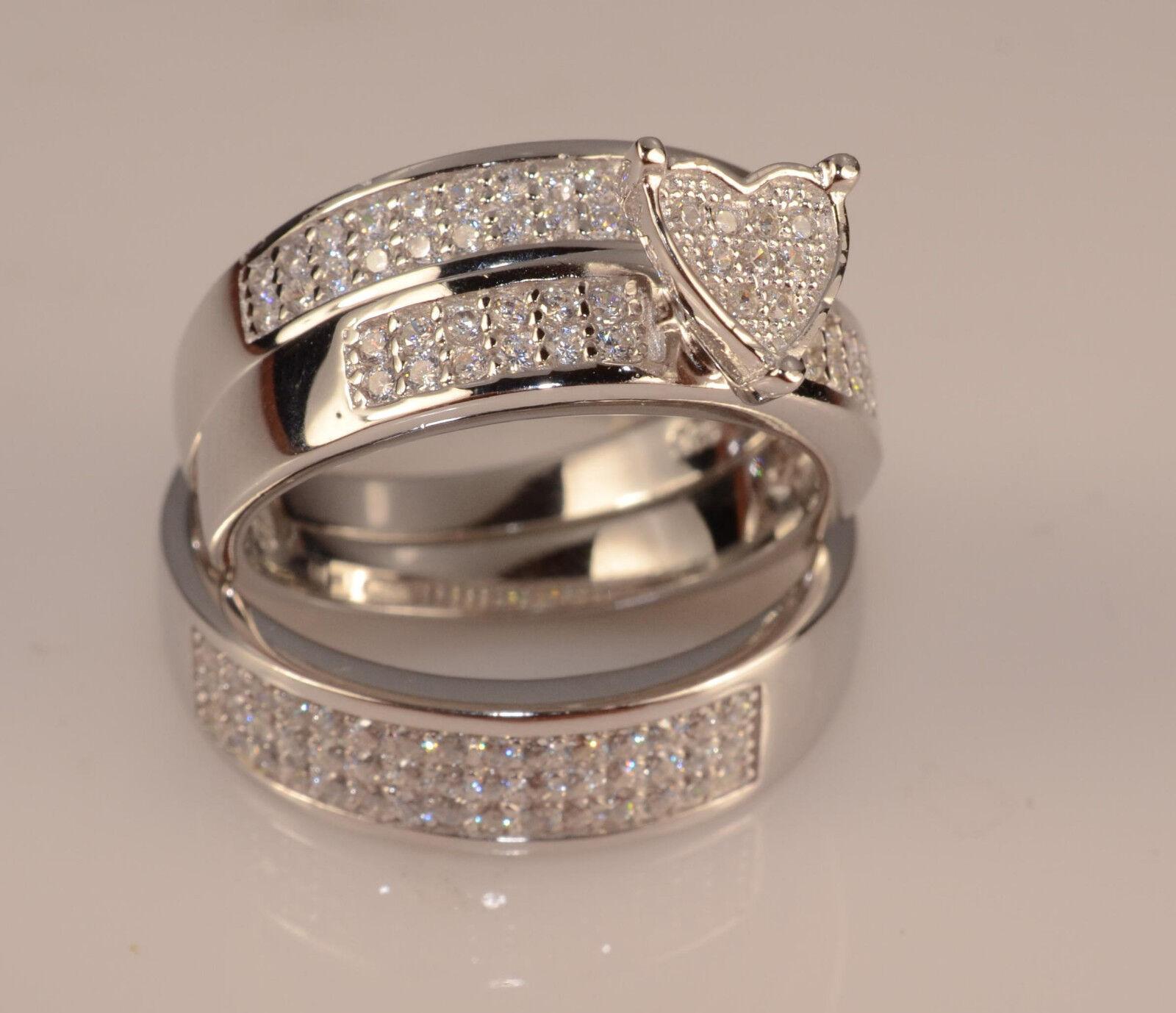 Men & Ladies White gold Finish Trio Set Wedding Engagement Rings  L9 m 12