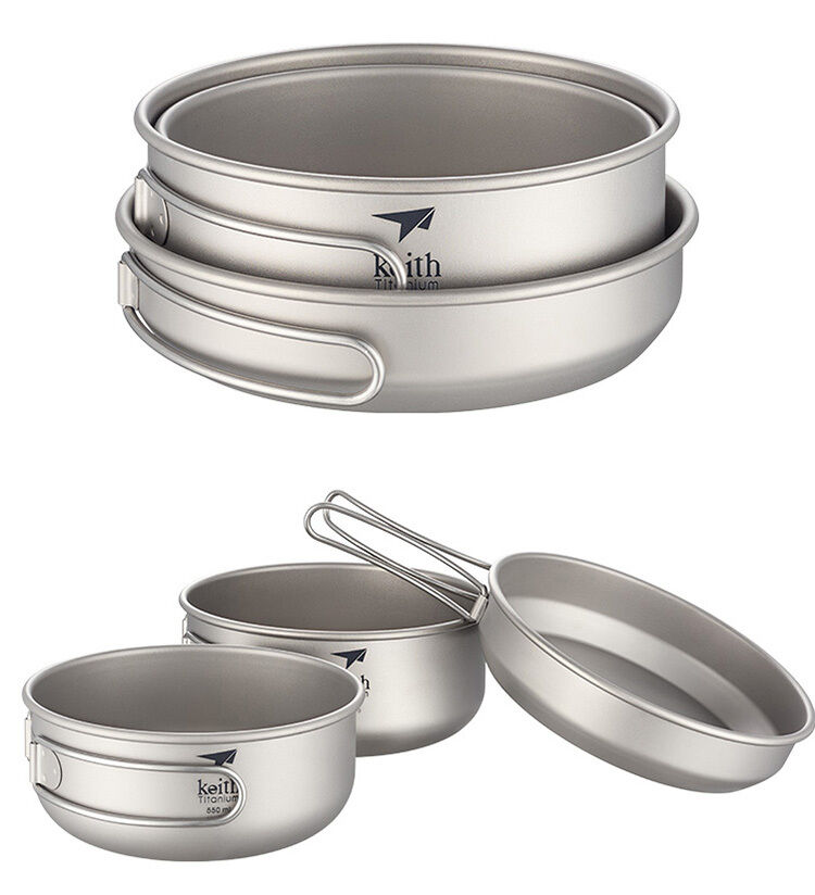 3PCS Set Keith Picnic BBQ Titanium Folding Bowl Pot Plate Frying Pan Lunch Box