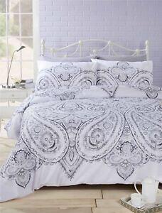 motifs-cachemire-floral-gris-melange-de-coton-Reversible-Housse-couette-double