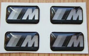 4-BMW-Negro-Plata-M-Tech-Aleacion-volante-insignia-de-la-etiqueta-engomada-M3-MV3-Fibra-De-Carbono