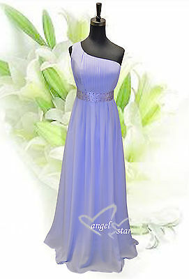 Charming Chiffon One Shoulder Lilac Gown Evening Wedding Party Bridesmaid Dress HüBsch Und Bunt