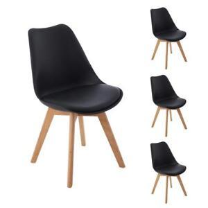 Sedie Imbottite Design.4pcs Sedie Da Pranzo Tulip Retro Design Con Gambe In Legno