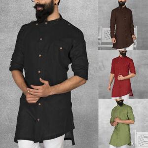 Herren-Mode-Muslimische-arabische-Nahost-Knopfoberseite-Bluse-Hemd-Tops-Shirt