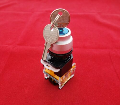 1PC  Cutout 22MM Key Selector Switch 2 Position Maintained key switch LAY39