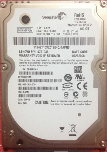 """1 of 1 - Working Seagate ST9100821AS 100 GB 7200RPM 2.5"""" SATA 8 MB HDD Laptop Hard Drive"""