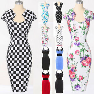 Women Summer Vintage Style 50s Swing Party Prom Cocktail Housewife Pin Up Dress