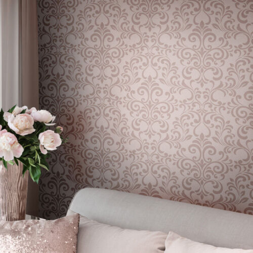 Lipsy London by Muriva Luxe Damask Glitter Wallpaper Rose Gold 144803