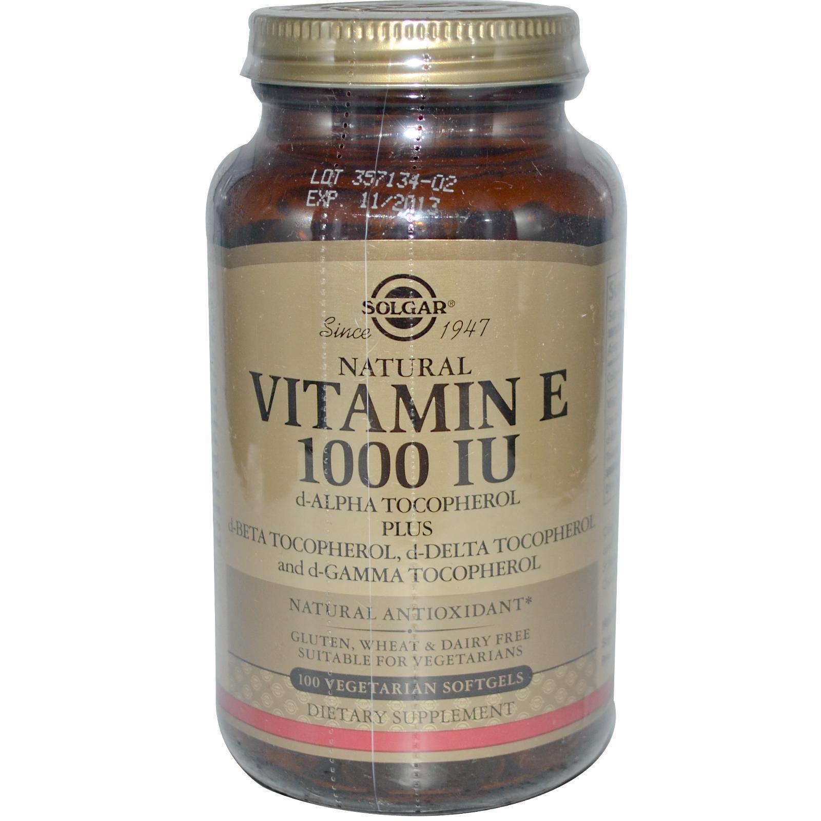 Solgar, naturale vitamina E, 1000 IU , VEGETARIANO 100 VEGETARIANO , Capsule Morbide 017997