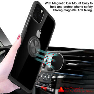 Metal Magnetic Case Cover With Car Ring Holder Buckle For iPhone 12 11 XS Max 8