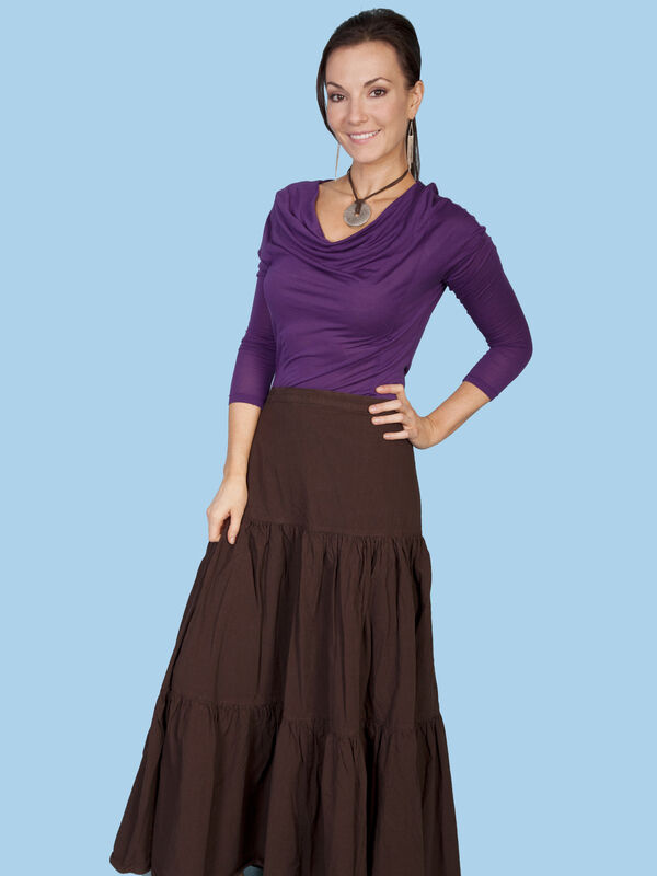 SCULLY Cantina Collection Brown 100% Peruvian Cotton Western Skirt PSL-077 NWT