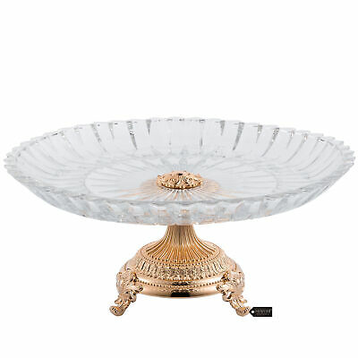 Matashi Rose Gold Plated Decorative Crystal Cake Plate Round Serving Platter Ebay