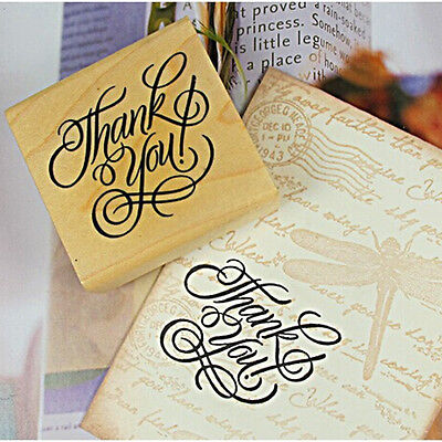 New Wooden Rectangle Stamp Rubber Craft Favour Scrapbooking Thank You Love CN