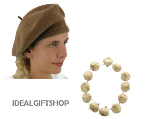 WOOL BERET AND GARLIC GARLAND NECKLACE COSTUME BASTILLE DAY FRENCH FANCY DRESS