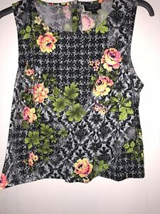 Topshop-Floral-And-Baroque-Printed-Top-Size-10