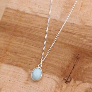Larimar-925-Sterling-Silver-Dainty-Pendant-Necklace-Gemstone-Jewellery