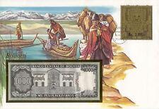 superbe enveloppe BOLIVIE BOLIVIA billet banque 1000 P 1982 UNC NEUF + TIMBRES
