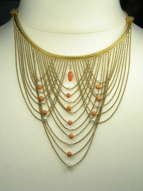 ANTIQUE ITALIAN 14K GOLD CORAL PEARL SWAG NECKLACE LUIGI PALLOTTI VENICE c1890