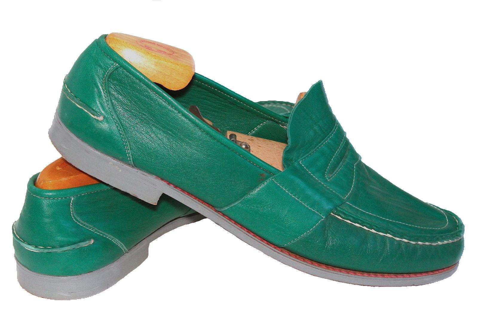 De Colección Santini e Dominici (Fausto Santini) para hombres Cuero Mocasines US 12.5 verde