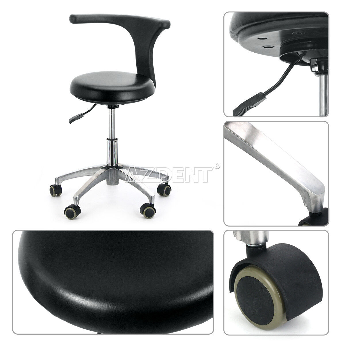 Dentist Doctor Assistant Stool Adjustable Mobile Chair PU Hard Leather Furniture 1