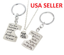 Family Mother Father Daughter Necklace Key Chain Pendant Three Piece Set Mom Dad