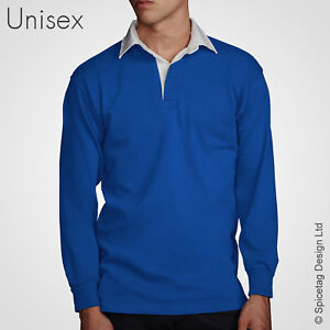 9137d9f03a6 Retro Royal Blue Rugby Jersey 70s Polo Vintage Old Style Sweater ...